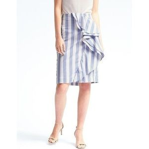 NEW Banana Republic Blue Striped Cascade Skirt 16T